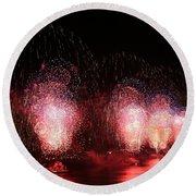 Macy's Fireworks On The Hudson Round Beach Towel