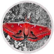 Madam Moth - Red White And Black Round Beach Towel
