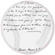 Madame De Stael Letter Round Beach Towel