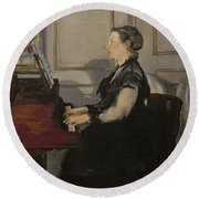 Madame Manet At The Piano Round Beach Towel