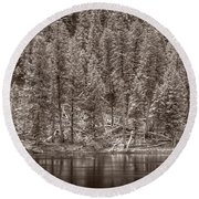 Madison River Yellowstone Bw Round Beach Towel