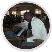 Madona Playing Piano In Nigerian Church Round Beach Towel