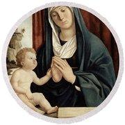 Madonna And Child - Late 15th To Early 16th Century  Round Beach Towel by Giovanni Battista Cima da Conegliano