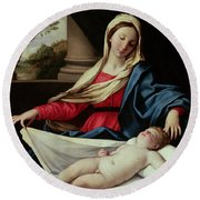 Madonna And Child  Round Beach Towel by II Sassoferrato