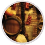 Madrid Food And Wine Still Life II Round Beach Towel