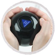 Magic Eight Ball, Check Your Cholesterol Round Beach Towel