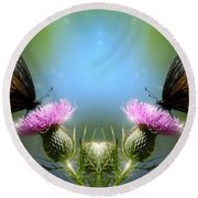 Magical Butterflies Round Beach Towel