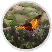 Magical Places For Butterflies Round Beach Towel