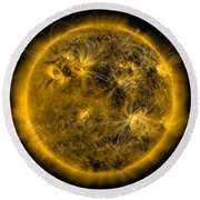Magnetic Field Lines On The Sun Round Beach Towel