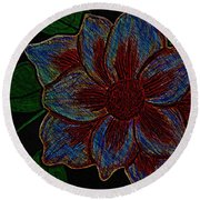 Magnolia Abstract Sketch Round Beach Towel