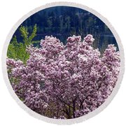 Magnolia By The Lake Round Beach Towel