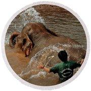 Bathing An Elephant Laos Round Beach Towel
