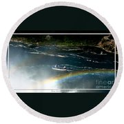 Maid Of The Mist And Rainbow At Niagara Falls Round Beach Towel