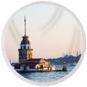 Maiden Tower In Istanbul Round Beach Towel