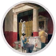 Maidens In A Classical Interior Round Beach Towel