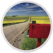 Mailbox On Country Road, Tiger Hills Round Beach Towel