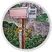 Mailbox Sketchbook Project Down My Street Round Beach Towel by Irina Sztukowski