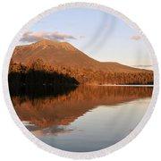 maine 25 Baxter State Park Mt. Khatahdin Reflection in Daicey Pond Round Beach Towel
