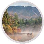 maine 26 Baxter State Park Mt. Khatadin Morning Mist on Daicey Pond Round Beach Towel