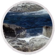 Maine Coast Surf Round Beach Towel