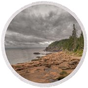 Maine Coastline. Acadia National Park Round Beach Towel