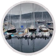 Maine Harbor Round Beach Towel