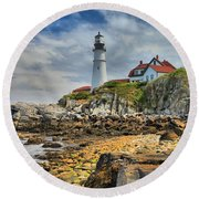 Maine Head Light Round Beach Towel