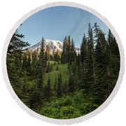 Majestic Rainier Round Beach Towel