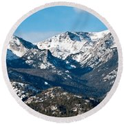 Majestic Rockies Round Beach Towel