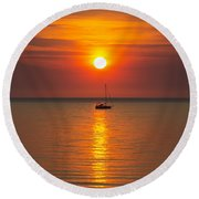 Majestic Sunset Round Beach Towel