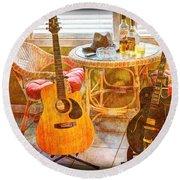Making Music 004 Round Beach Towel by Barry Jones