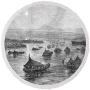 Malaya: Perak River, 1876 Round Beach Towel