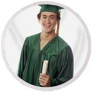 Male Graduate Round Beach Towel