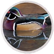 Male Wood Duck Round Beach Towel
