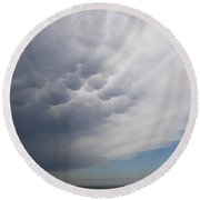 Mammatiform Clouds Round Beach Towel