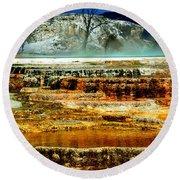 Mammoth Terrace - Yellowstone Round Beach Towel