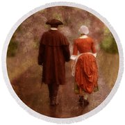 Man And Woman In 18th Century Clothing Walking Round Beach Towel