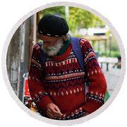 Man In A Red Sweater Round Beach Towel