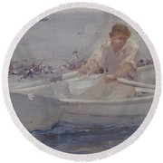Man In A Rowing Boat Round Beach Towel