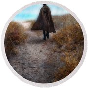 Man In Cape And Top Hat By The Sea Round Beach Towel