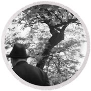 Man In Hat Round Beach Towel