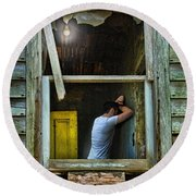 Man In Ruined House Round Beach Towel
