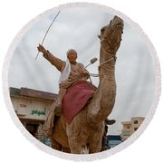 Man With His Camel Round Beach Towel