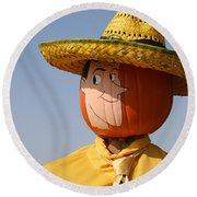 Man With The Yellow Hat Round Beach Towel