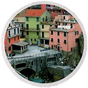 Manarola Houses On The Cinque Terre II Round Beach Towel