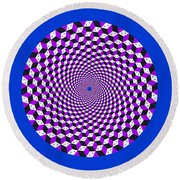 Mandala Figure Number 5 With Rhombus Steps In Black And White And Purple Round Beach Towel