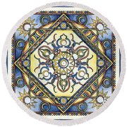 Mandala Of The Sun Round Beach Towel