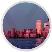 Manhattan In Pink Round Beach Towel