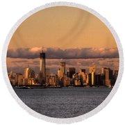 Manhattan Skyline At Dusk Round Beach Towel