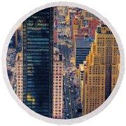 Manhattan Streets From Above Round Beach Towel